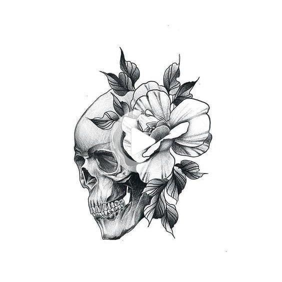Skull Tattoo Design With Flowers Lower Back Tattoos In 2020 Skull Rose Tattoos Skull Tattoo Design Tattoos