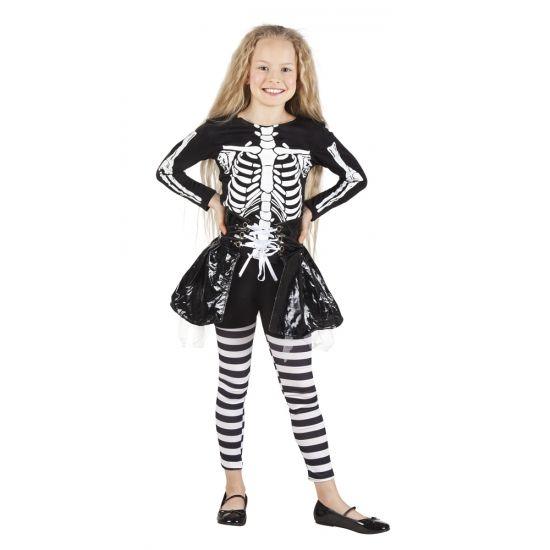 Skelet kostuum voor meisjes. Dit Halloween skelet kostuum voor meisjes bestaat uit shirt, gestreepte legging en rokje.