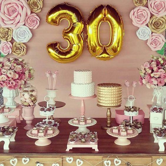 Cumpleaños 30 Años Mujer Decoracion De Cumpleaños Fiestas De Cumpleaños Número 30 Decoración De Fiesta
