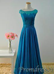 #promdress01 prom dresses - Elegant shot sleeve blue chiffon lace prom dress for teens, plus size dress 2015, custom made prom gown #coniefox #2016prom
