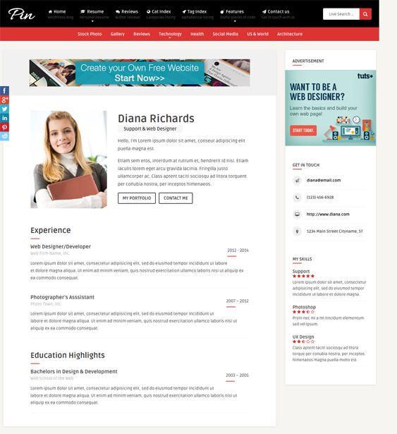 8 best 8 More of the Best Resume, vCard, \ CV WordPress Themes - wordpress resume themes