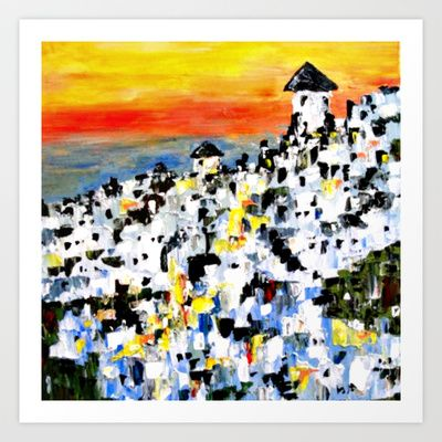 Abstract Santorini, Greece Landscape Art Print by Claudia McBain