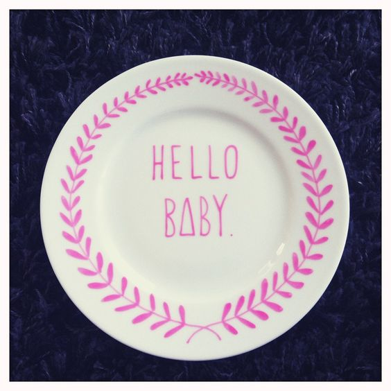 Hello Baby Hand Illustrated Pink Ceramic Baby Plate by ohNOrachio