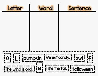 Halloween letter-word-sentence Sort - FREE Printable