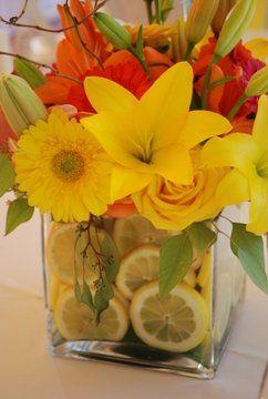 Receptions orange pink and wedding on pinterest - Yellow and orange wedding decorations ...