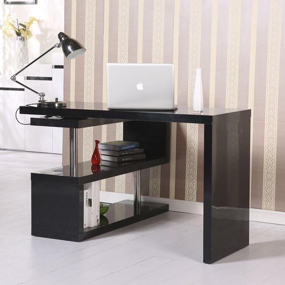 amazoncom homcom rotating office desk and shelf combo black office products black office desk