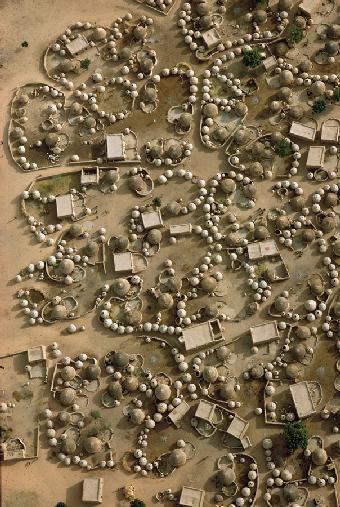 Africa | Aerial view of Labbezanga near the Mali-Niger border. 1972 | ©Georg Gerster: