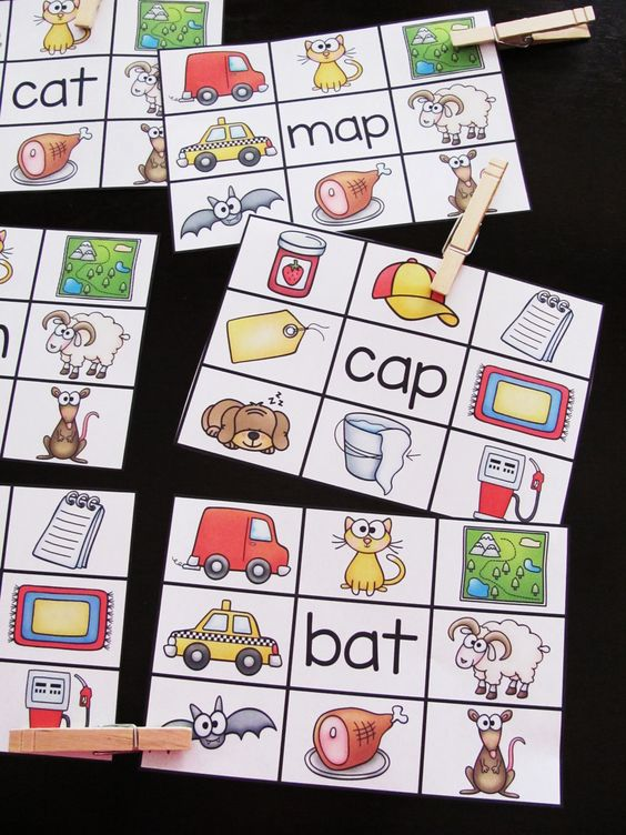 FREE Short A clip cards where students read the word and clip a clothespin onto the picture it is - great back to school reading center FREE