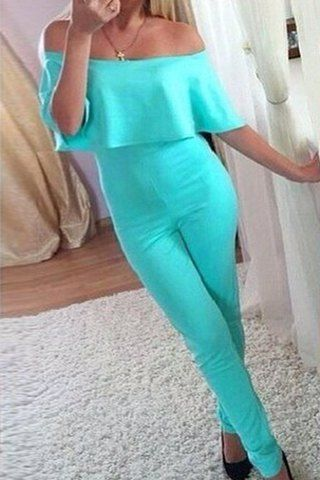Sexy Off-The-Shoulder Half Sleeve Solid Color Women's Skinny JumpsuitJumpsuits & Rompers   RoseGal.com