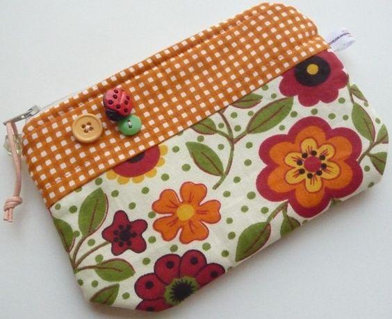 Bolsa De Tecido Com Ziper E Forro : Necessaire confeccionada com tecidos algod?o