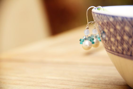 pearl and blue earrings @ Branching Fig