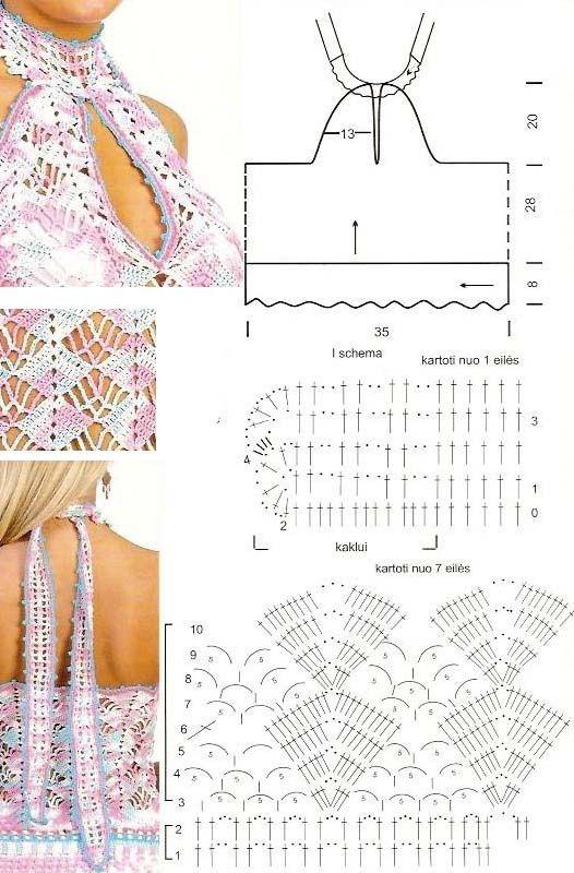 Patrones Crochet: Top Atado al Cuello Patron