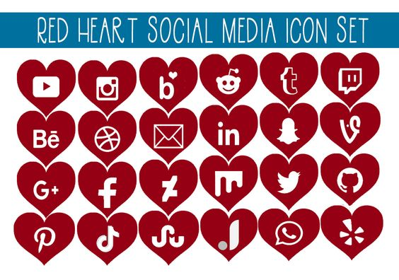 Red Heart Social Media Icon Set Graphic By Capeairforce Creative Fabrica