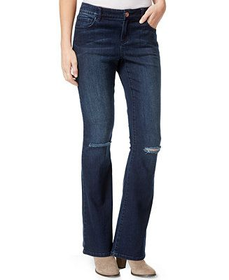 INC International Concepts Ripped Bootcut Jeans, Mid-Indigo Wash ...