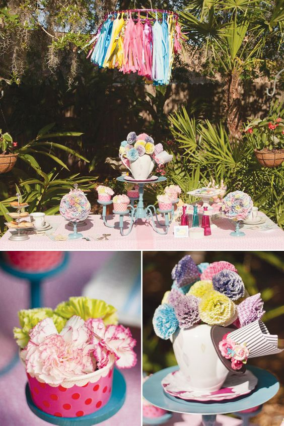 Mad Hatter Tea Party: Tea Party, Pink Cupcake, Chandelier Cupcake, Outdoor Tea Parties, Party Ideas, Birthday Ideas, Alice Party, Birthday Party
