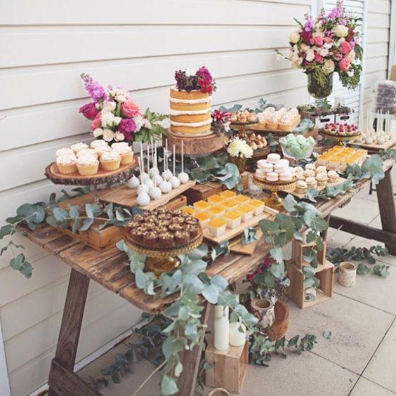 Flower Garden Themed Bridal Shower : A rustic dessert table for secret garden themed bridal