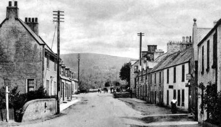 Old photograph of cottage and houses in Craigellachie village in Moray, Scotland