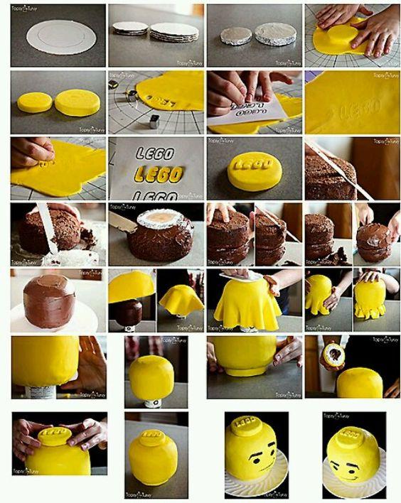 Lego head cake how to