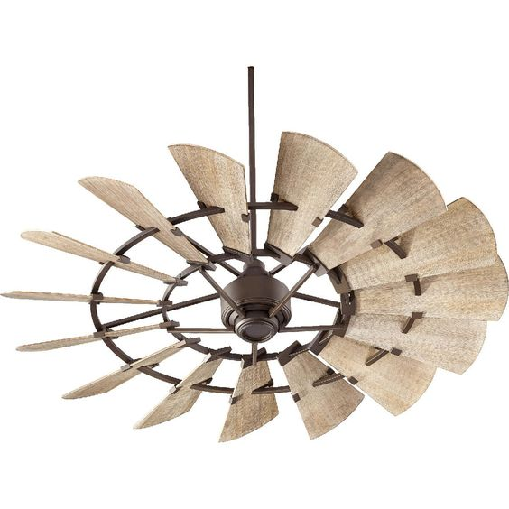 """60"""" Rustic Windmill Ceiling Fan. Like fans without lights hanging down, they're always wimpy lights. Better to have recessed lights on a dimmer outside the fan radius."""