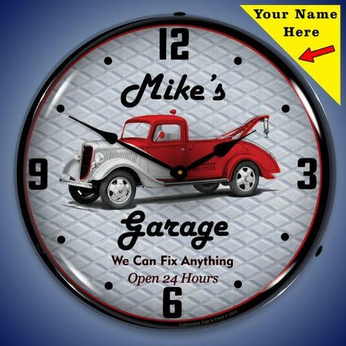 Personalized Garage Led Lighted Wall Clock 14 X 14 Inches Add Your Name Wall Clock Light Wall Clock Garage Clock