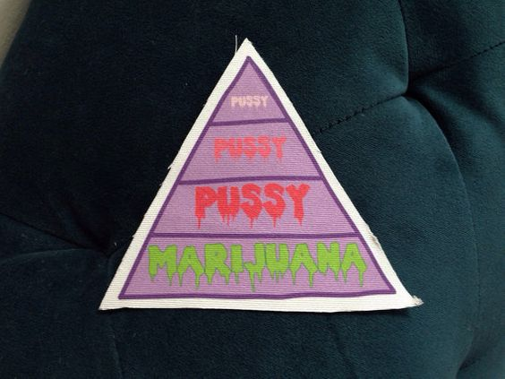 Pussy Pussy Pussy Marijuana Food Pyramid Patch by WickedQueer
