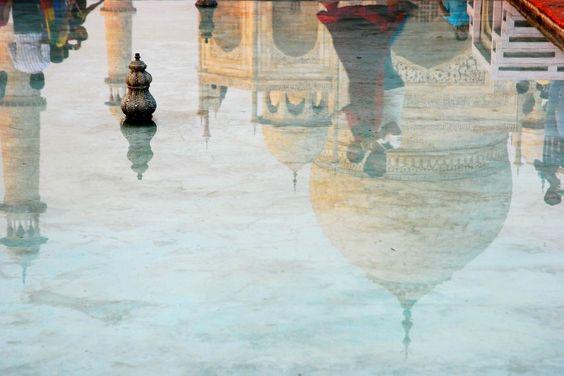 Reflection of Taj Mahal on water