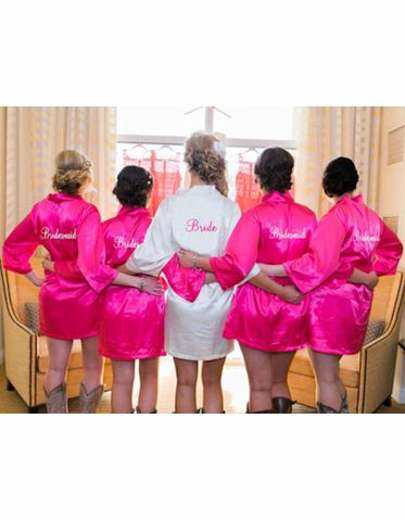 Embroidered Satin Bridal Party Getting Ready Robe
