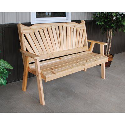 Millwood Pines Gause Fanback Wood Garden Bench Size 4 Colour