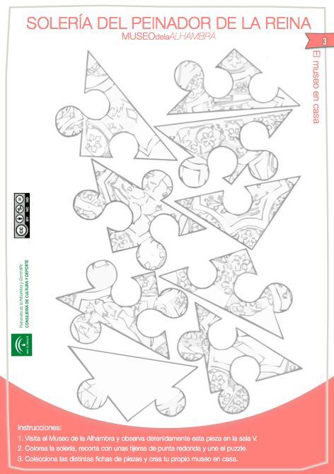 Puzzle coloreable de la Solería del Peinador de la Reina