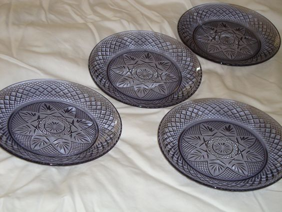 FOUR Exquisite Blue/Purple FRENCH Crystal Pressed Glass LUNCHEON Plates - Cris D 'Arques/Durand