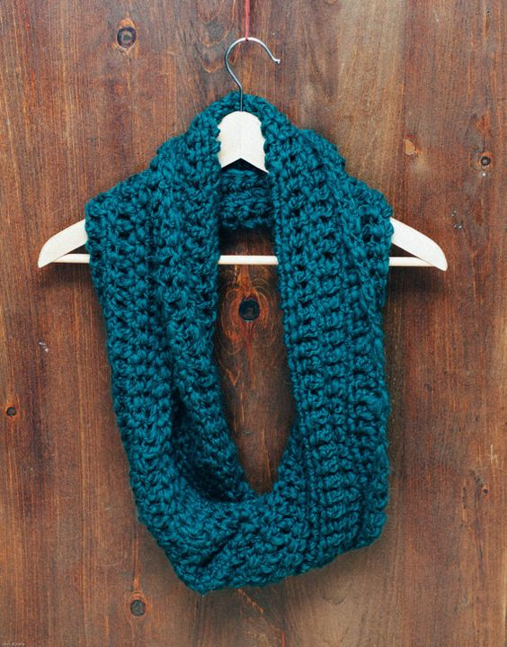 Turquoise Chunky Handmade Crochet Scarf - Loosely Stitched Chunky Cowl