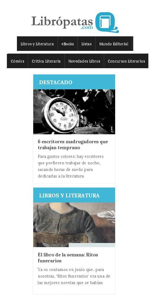 """Librópatas: secciones """"Destacados"""" y """"Lengua y Literatura"""" http://www.libropatas.com/"""