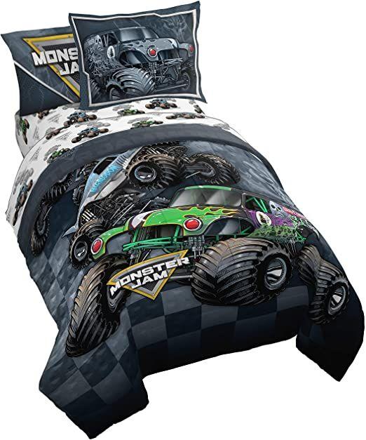 Monster Jam Slash 7 Piece Full Bed Set Includes Reversible Comforter Amp Sheet Set Bedding Features Grave Di In 2020 Twin Bed Sets Full Bedding Sets Bedding Sets