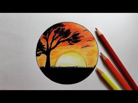 رسم منظر طبيعي سهل رسم الغروب بالألوان الخشبية للمبتدئين خطوة بخطوة How To Draw Land Space Easy Youtube Art Artwork Abstract