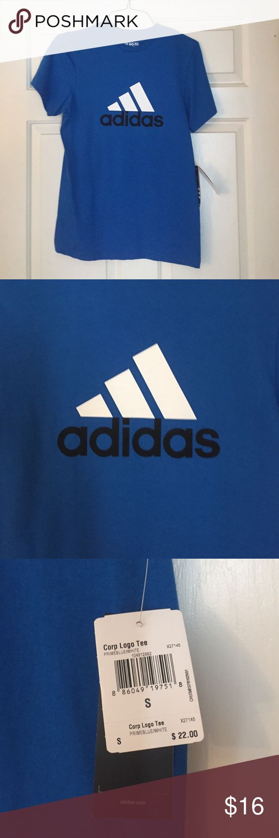 NWT Blue Adidas Tee NWT Adidas t-shirt.  Adult size small. 100% cotton. Adidas Tops Tees - Short Sleeve