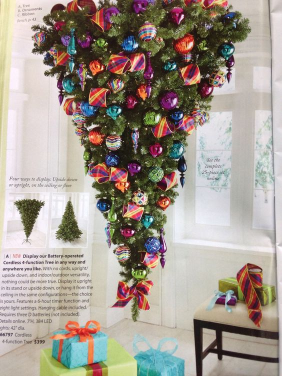 Opened up my new grandinroad catalog and saw this lovely idea some genius had. I'd like to see the look on a spouse's face when they see the holiday honey-do list: please hang tree upside down from ceiling. Yeah. Right.