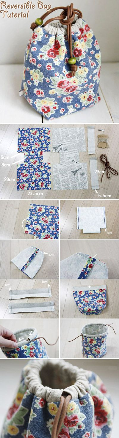 How to Make a Reversible Drawstring Bag. DIY Pattern & Tutorial http://www.handmadiya.com/2015/11/reversible-drawstring-bag-tutorial.html: