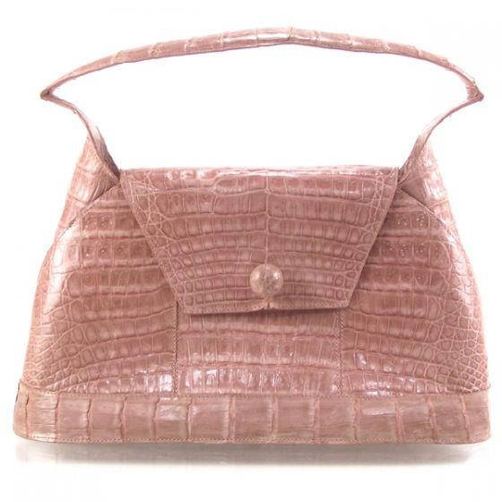 NANCY GONZALEZ Crocodile Handbag in Pink.