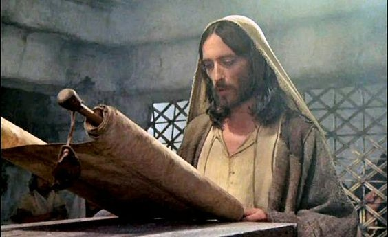 Jesus reading scroll:
