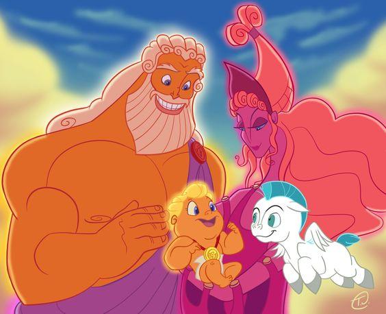 "Zeus (Rip Torn) and Hera (Samantha Eggar) from ""Hercules"" (1997)"