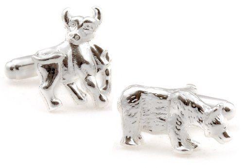 Sterling Silver Bull and Bear Cufflinks Cuff-Daddy. $124.99. Save 38% Off!