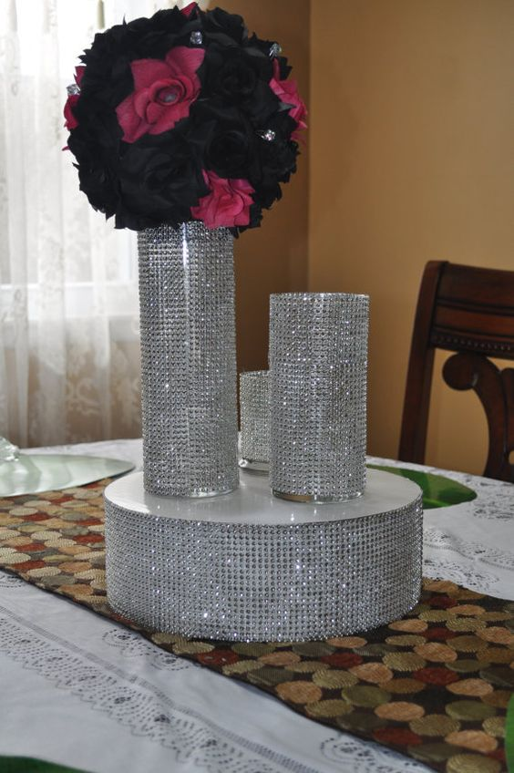 Rhinestone Bling Vase For Wedding Party Centerpiece Table Decor Bouquet Holder Pinterest