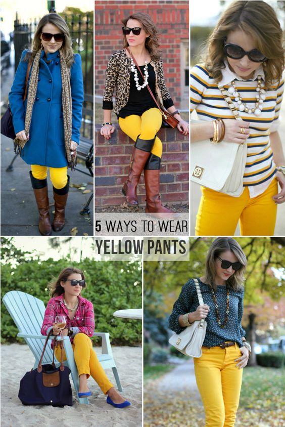 Styling yellow pants.