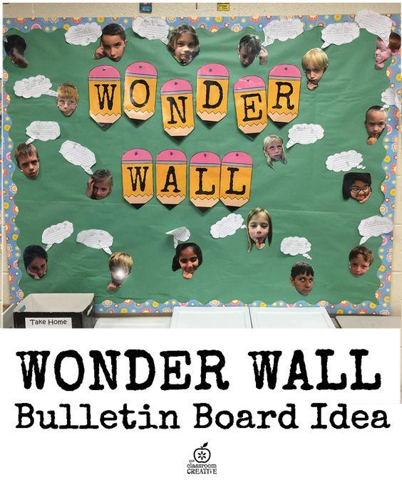 bulletin board idea, wonder wall