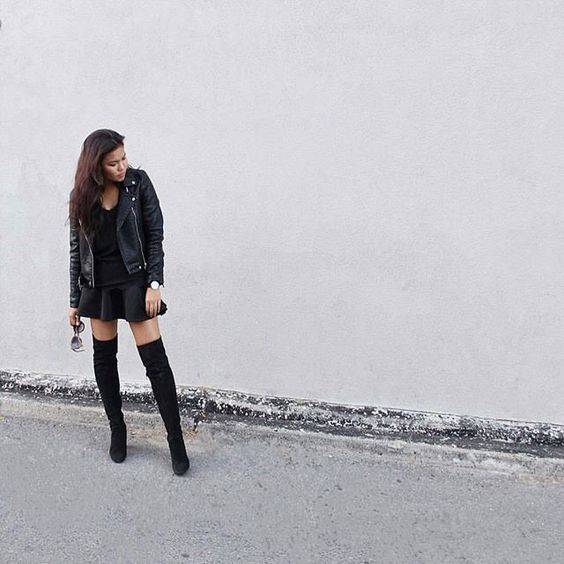 @chloezhaang rocking black on black on black ⚫ Shop our skirt online now…