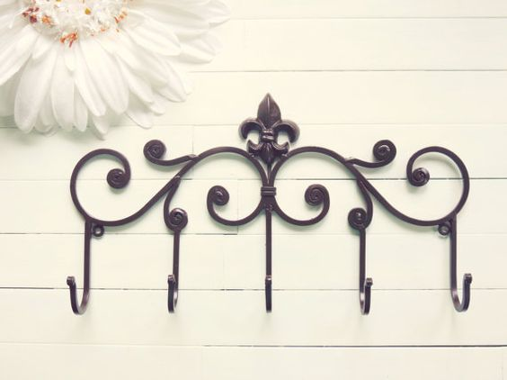 Fleur de lis decor metal wall hanger wall hook brown home decor towel rack coat hook - Fleur de lis towel bar ...