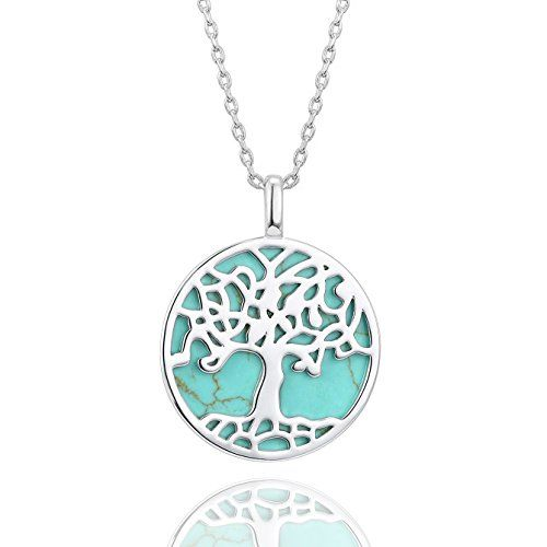 Wholesale Sliver Tone With Blue Rinestone Alloy Round Pendant Life Tree Pattern