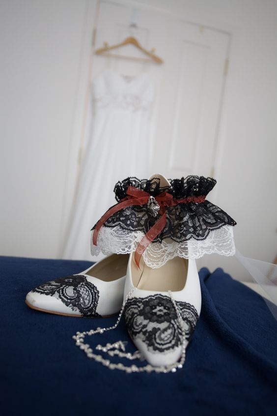 Wedding Dress, Shoes, and Garter all customized by MEWx2 :)