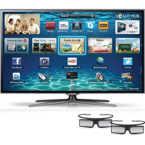 Submarino Smart TV 3D LED 40 Samsung 40ES6500 3 HDMI 3 USB Full HD 480Hz 2 Óculos 3D - R$1880.10