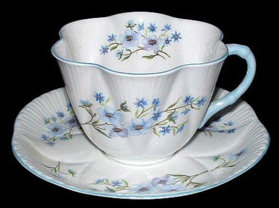 Shelley China Dainty Shape Blue Rock Cup and Saucer England Bone China